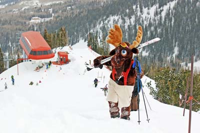 Murdock the Moose will ski down to the Resort Village on Monday, Dec. 31, at 3 p.m. to start the New Years Eve festivities at Canyons Resort. (Photo courtesy of Canyons Resort)