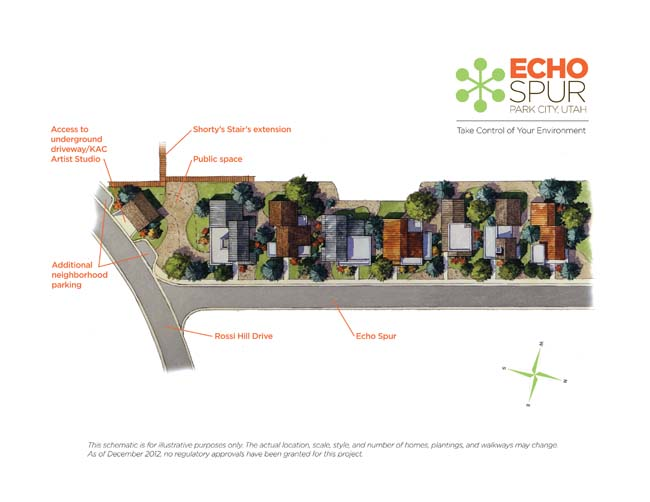 A landowner in the Rossi Hill neighborhood wants to build between six and eight residential units as part of a project called Echo Spur. The Park City Planning Commission is considering the idea. Courtesy of Redhead Marketing & PR/Echo Spur