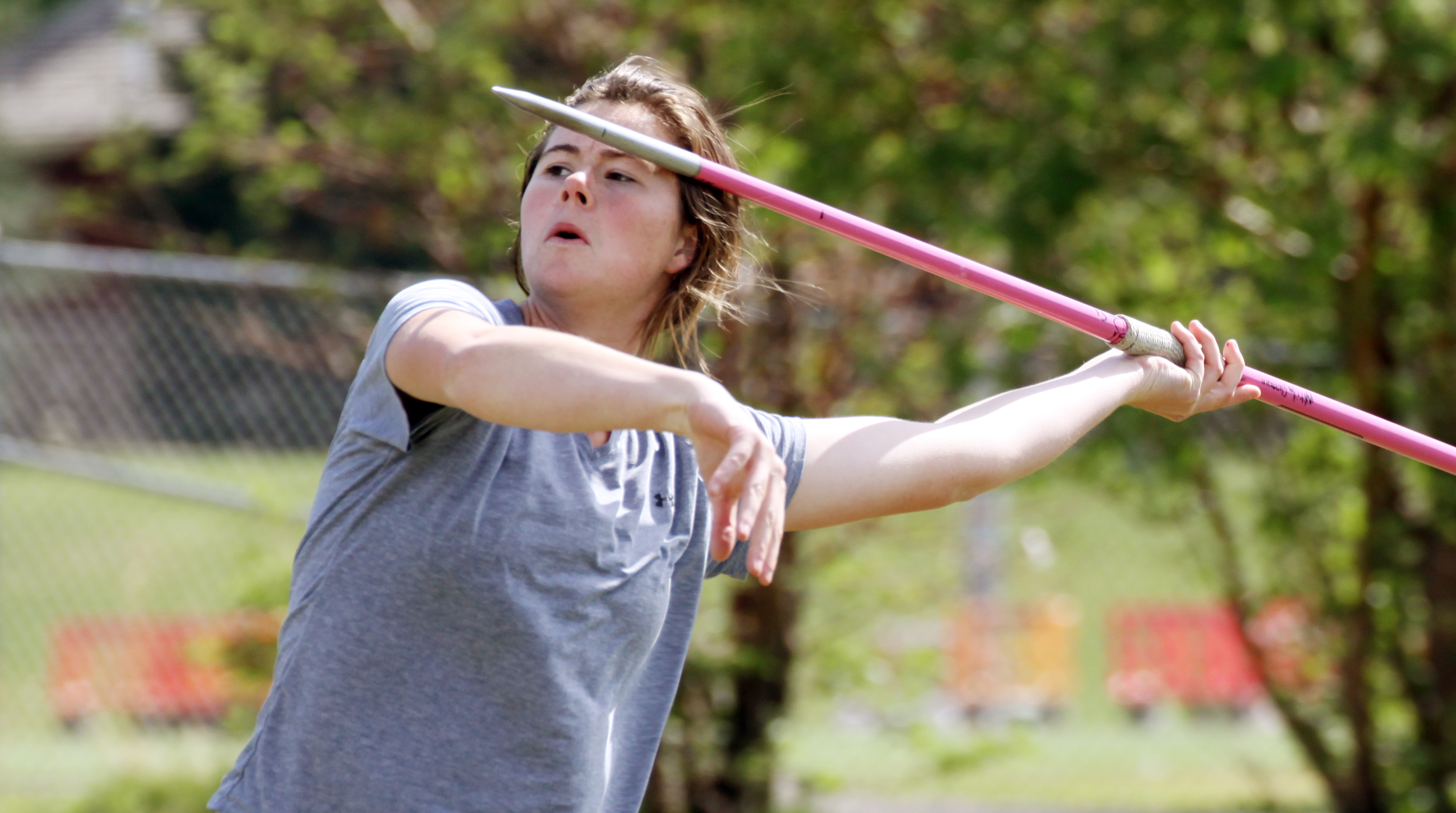 Megan Glasmann s throw of 156 feet, three inches at the Davis Invitational on April 27 set a new Utah state record for javelin throwers of all divisions. Tyler Cobb/The Park Record