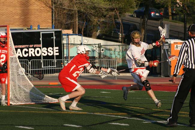 Freshman goalie Sheridan Buchholz (22) had seven saves in Park City s first victory in six years over Judge in boys  lacrosse. Photo courtesy Park City Lacrosse