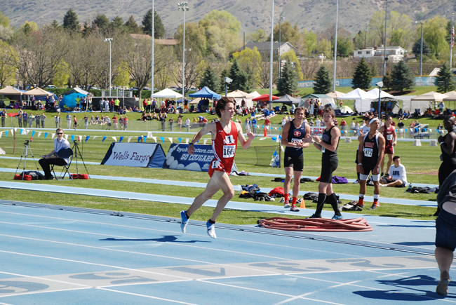 Ben Saarel crosses the finish line during the 3200-meter race at the BYU Invitational on Friday. Saarel shattered the Utah state high school record with a time of 8:49.08. Courtesy Ben Herr