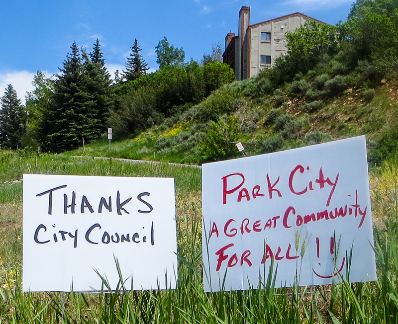 Signs supporting City Hall's decision to stop talks about relocating a Rocky Mountain Power substation were posted along Bonanza Drive afterward. People who live or have places nearby were pleased with the decision. Jay Hamburger/Park Record