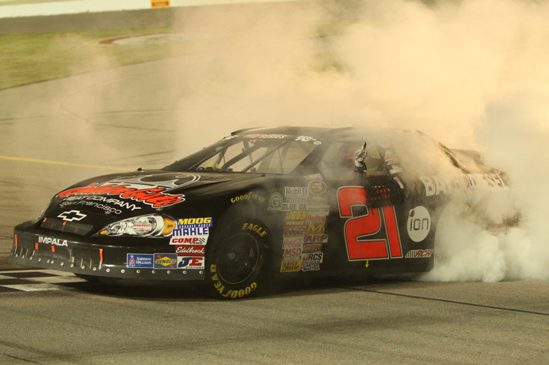 Michael Self celebrates a win at the Iowa Speedway on June 7. Courtesy Iowa Speedway