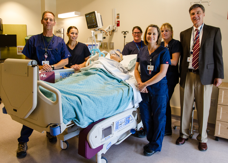 (L-R) Intensive Care Unit Nurse Manager John Culberson, Registered Nurse's Jen Brown, Vanessa Hartley, Melanie Martin, Cecily Huff-Smith and Nurse Administrator Dan Davis at the new Park City Medical Center ICU, opening Friday, July 12. (Chrisopher Reeves/The Park Record)