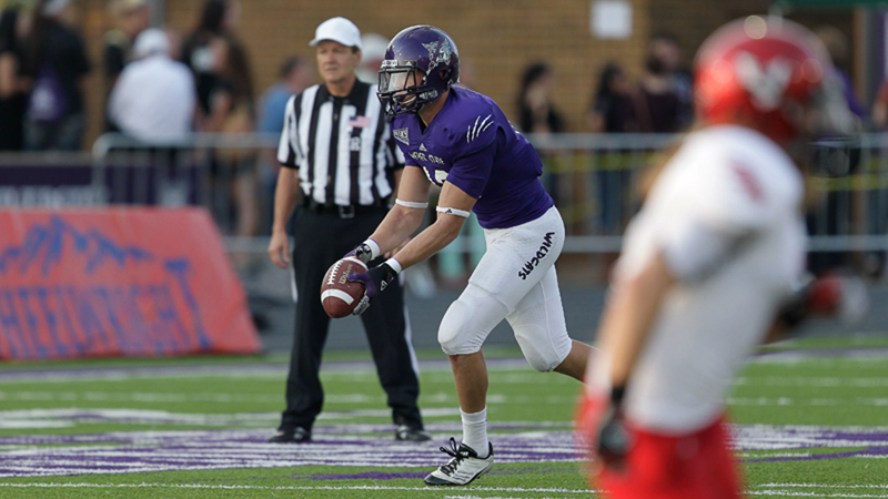 Tony Epperson prepares to launch a punt during a Weber State home game last season. Photo courtesy of Weber State Athletics