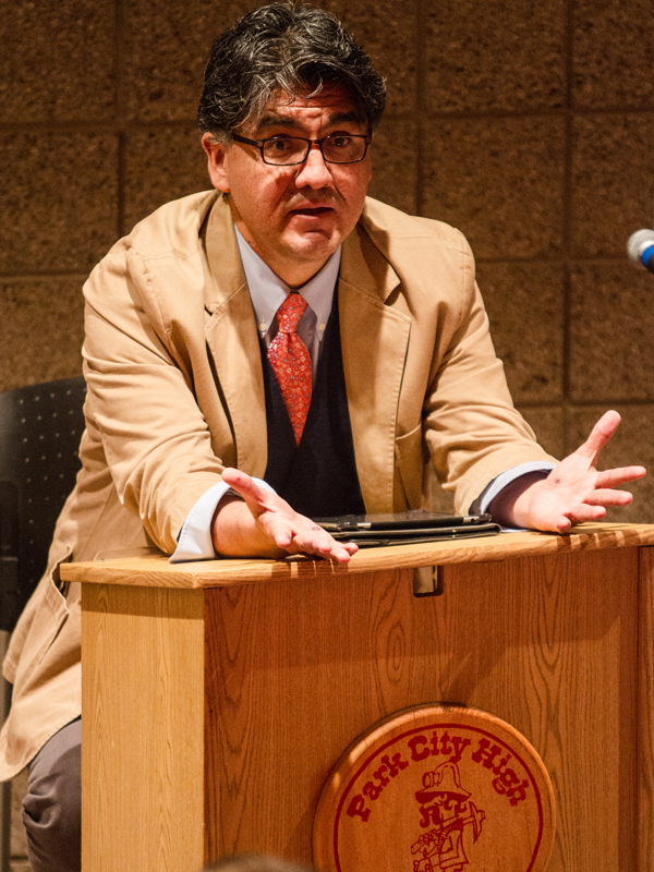 Sherman Alexie, author-in-residence, speaks to an English class about his book,  The Absolutely True Diary of a Part-Time Indian,  Thursday, Sept. 19, in Park City High School auditorium. Christopher Reeves/Park Record.