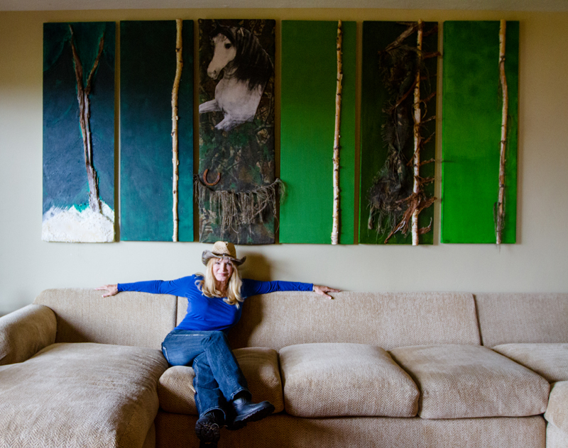 "Francis resident Toni Naples, sits under her painting ""La Lezione dalle Verde"" in Francis. Naples, who has worked with Bob Hope and director Roger Corman, produces and stars in a YouTube comedy series called ""Cougar Cab"" that is filmed in and around the Park City area. (Christopher Reeves/Park Record)"