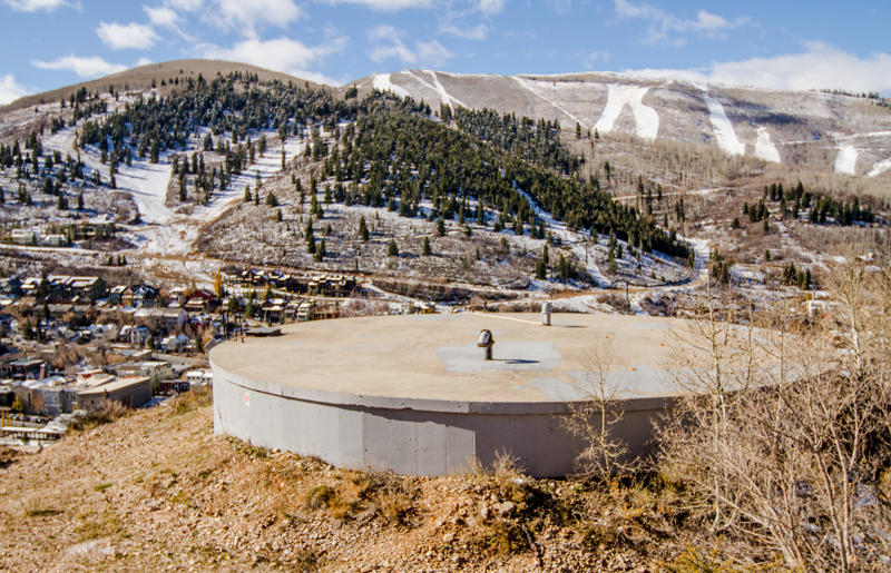 The Masonic water tank overlooking Old Town is part of the municipal waterworks system. It holds 500,000 gallons of water. Officials recently installed a surveillance system at the site as they tighten security around water facilities. Christopher Reeves/Park Record
