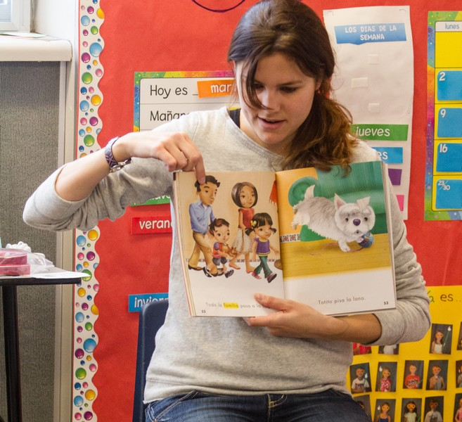 McPolin Elementary School Dual Immersion teacher Maria Morales teaches her first grade students family and animal words in Spanish in her classroom on Tuesday, Dec. 9. Photo by Christopher Reeves/The Park Record.