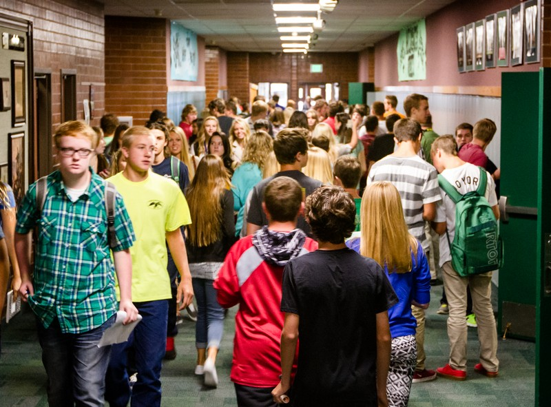 Students at South Summit High School make their way to class on the first day of school in August. Four months later, they are on track to meet their end-of-year goals. Photo by Christopher Reeves/Park Record.