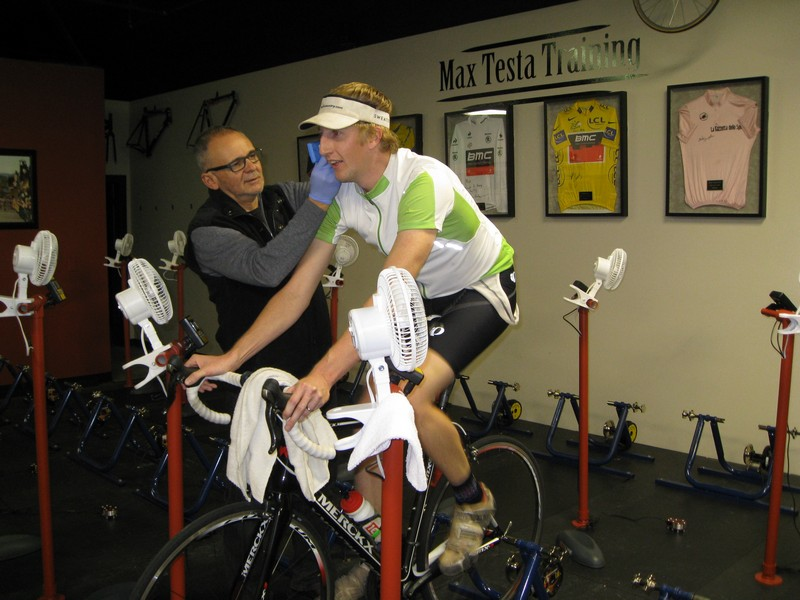 Max Testa, left, performs a lactate test on cyclist Brian Dobias at the Max Testa Training Center. Testa creates a custom workout for each cyclist with the results from the tests. Photo courtesy of Max Testa Training Cenber.