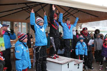 Park City Ski Team athletes, including, from left to right, Jack Schaede (fourth), Gunnar Travis (third), Luke Kaschmitter of Ogden Valley (first), Tommy Hoffman (second) and Jack Pollard (fifth) celebrate on the podium in the under-12 category. Photo courtesy of Heather Pollard