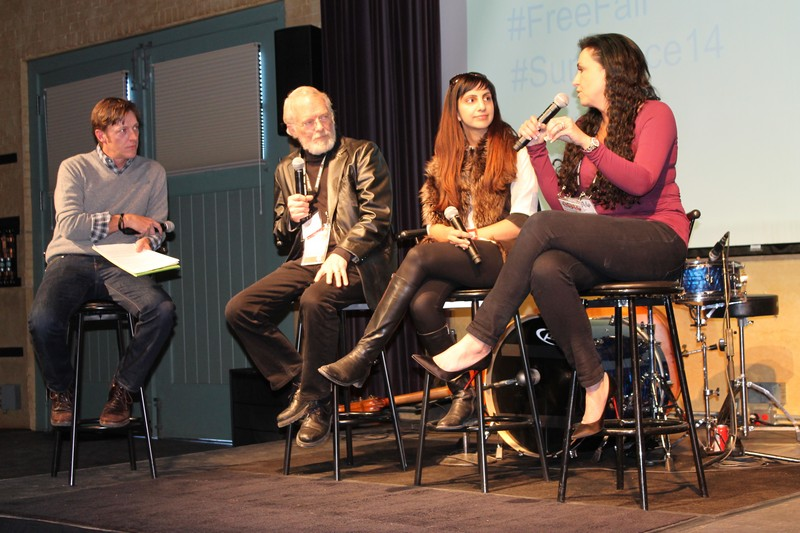 From left to right: Actor Kevin Rahm moderates a panel consisting of Dr. John Warnock, a founder of Adobe, Priyanka Bakaya, co-founder of PK Clean, and Amy Rees Anderson, founder of Rees Capital. The three entrepreneurs speak about the failures that faced early on in their careers. Alexandria Gonzalez/Park Record.