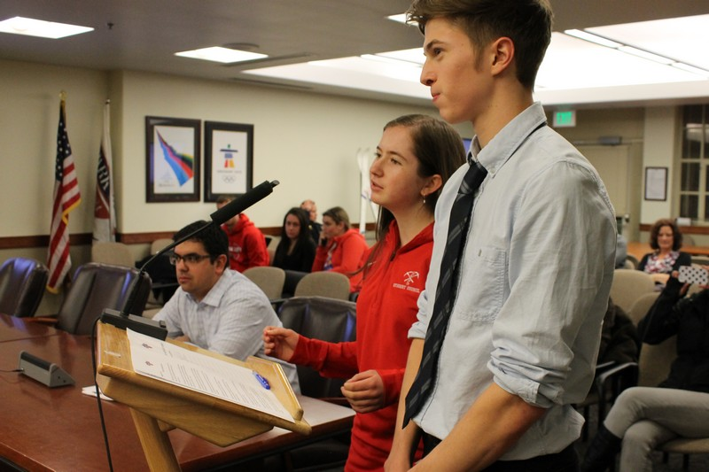 Park City High School Student Council members Sara Tabin and Adam Snyder present an anti-bullying resolution at a Park City Council meeting on Thursday, Feb. 6. Alexandria Gonzalez/Park Record.