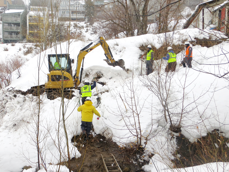 A crew excavated the site of a water line break close to Swede Alley on Thursday morning. Jay Hamburger/Park Record