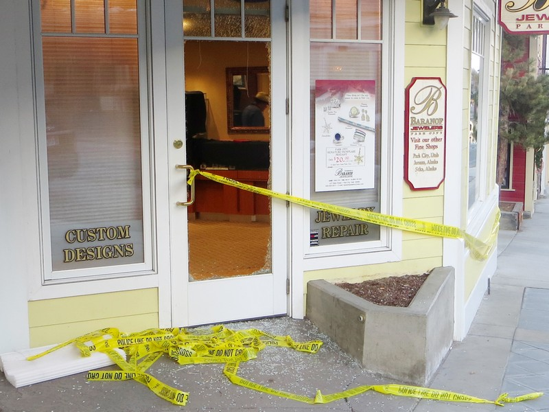 The front door of Baranof Jewelers on Main Street was smashed during a burglary early Tuesday morning. The police say rings, earrings and necklaces were taken. Jay Hamburger/Park Record