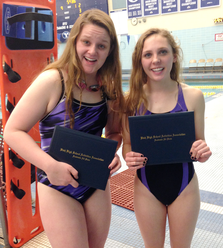 North Summit swimmers Ashley Sargent and Tess Bonham celebrate their Academic All-State awards. Photo courtesy of Manuel Chacon