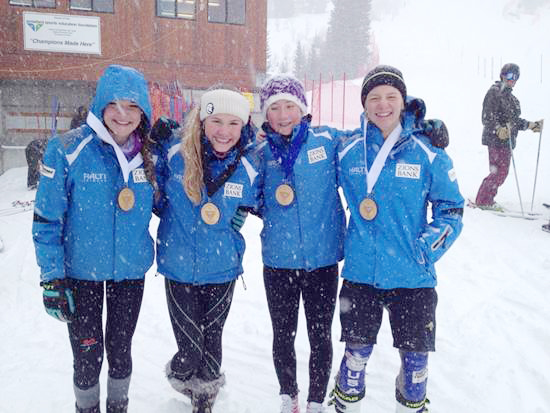 Park City Ski Team athletes (from left) Bridey Bush, Gabrielle Nixon, Alix Wilkinson, and Ben Lawson show off their medals from the Sunday slalom race at Snowbird on Feb. 16. (Photo courtesy of Freddy Grossniklaus)