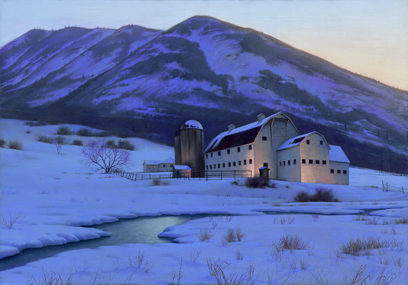 "Alexei Butirskiy's ""Park City Sunset"" captures McPolin Barn. The Russian-born painter first visited Park City in 2002 and fell in love with the area. (Image courtesy of Park City Fine Art)"