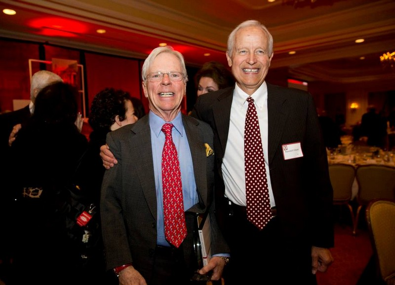 John Bloomberg, left, received the Honorary Alumnus Award from the University of Utah for his contributions to the John A. Moran Eye Center after Dr. Randall Olson, right, saved his eyesight almost 20 years ago. Photo courtesy of Anna Pocaro Manley.