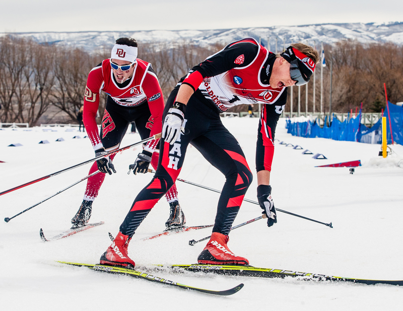 Niklas Persson of Utah, front, and Pierre Guedon of Denver, catch their breath after crossing the finish line of the 10-kilometer classical race at Soldier Hollow on Thursday. Christopher Reeves/The Park Record