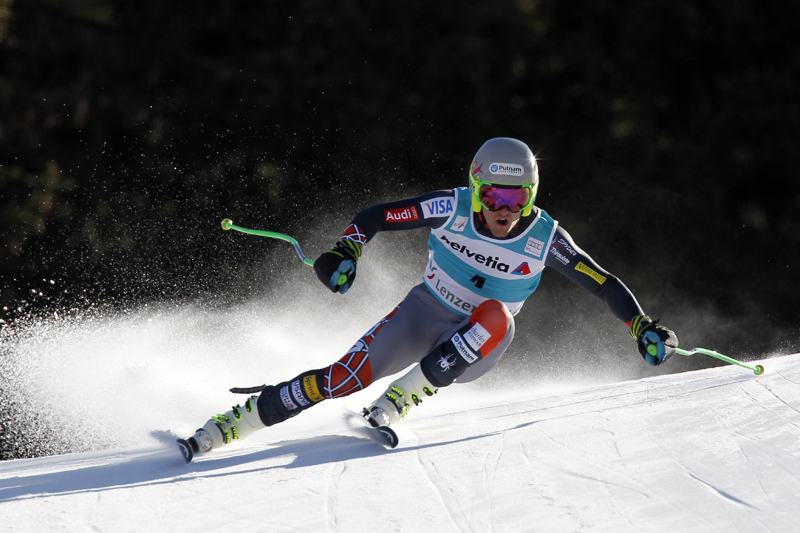 Ted Ligety speeds down the Lenzerheide downhill course on March 12, en route to a second-place finish. Alexis Boichard/Agence Zoom/Getty Images