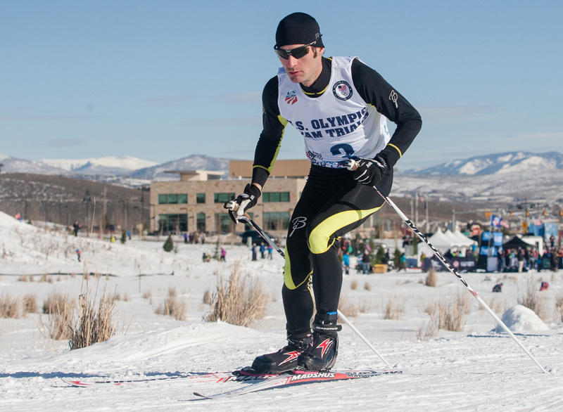 Bryan Fletcher skis during the cross-country portion of the Nordic combined Olympic trials in Park City last December. Christopher Reeves/Park Record