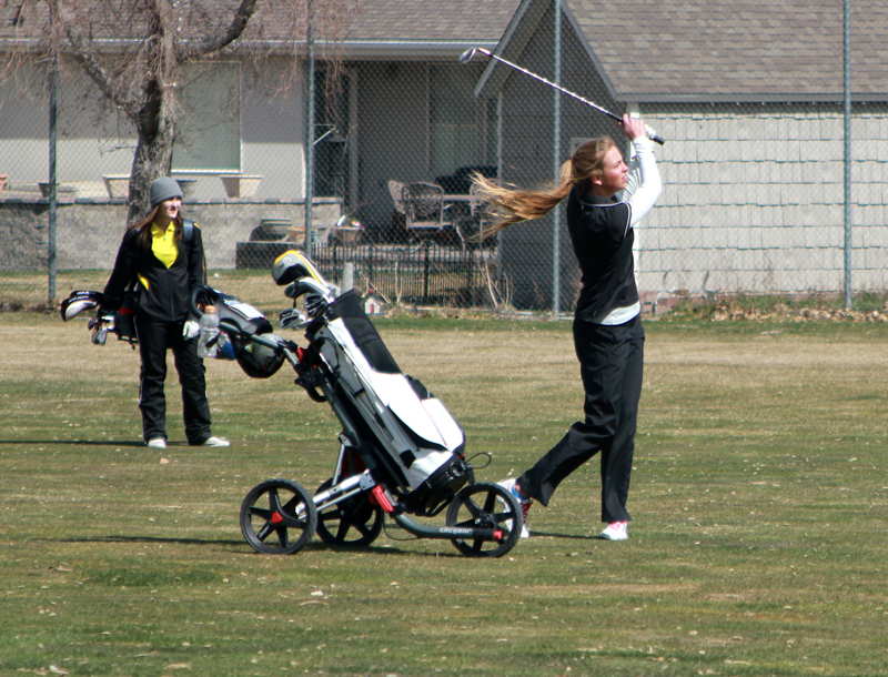 PCHS senior captain Abbi Briscoe hits a shot from the fairway at a tournament earlier this year. Photo courtesy of George Murphy