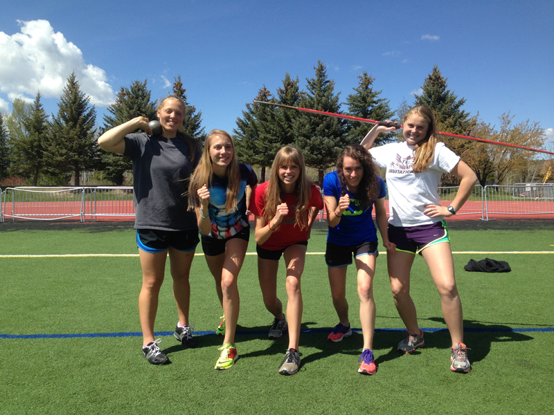 From left, Kambridge Van Der Veur, Alyssa Snyder, Maddie Criscione, Sophie McDonald and Chrissy Glasmann pose for a picture at track practice on Tuesday afternoon at Park City High School. Photo courtesy of Jeff Wyant