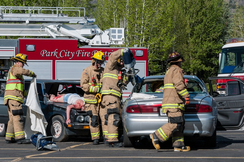 The Park City Fire Department assists in the reenactment of a fatal drunk driving accident Thursday, May 22, to warn Park City High School seniors not to make bad decisions while celebrating graduation in two weeks. Photo courtesy of Steve Joyce.