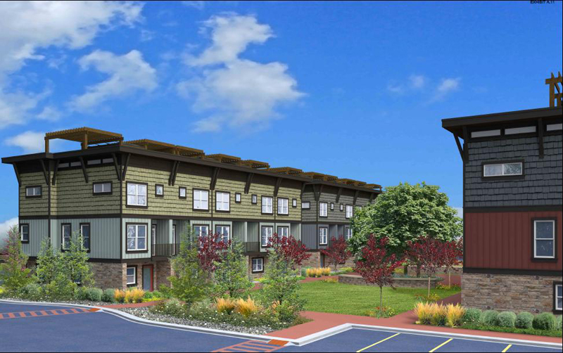 Nevis at Newpark is a proposed 23-unit townhome development slated to be built in between the Newpark Hotel and the Cottonwood Three building. Some residents are concerned about potential traffic impacts the development could pose. (Image courtesy of Summit County)