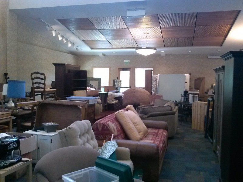 Throughout the month, Park City Community Church volunteers have accepted donated recliners, chairs, dressers, clothes, house wares and tools for the church s annual garage sale that will be held on Saturday, June 7. (Photo by Andrea Solum)