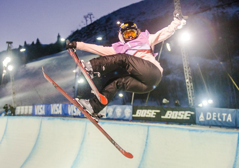 Maddie Bowman performs a trick in the halfpipe at PCMR during the Freeskiing Grand Prix in January. Park Record File Photo