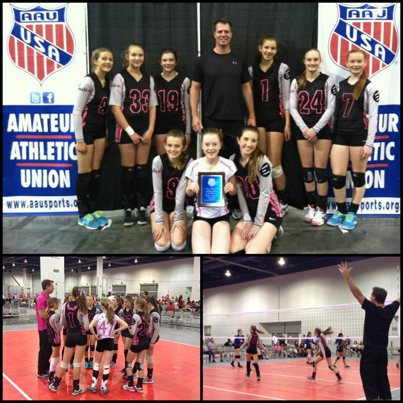 The Apex Volleyball team won the Silver flight at the West Coast Championships. The players pose for a photo in the top picture. In the top row, from left to right, are: Eleanor Kingston, Hannah Clayden, Corynn Olderman, coach Bobby Boggs, Grace Wiczek, Brooke Heitman and Emma Ricks. In the bottom row, from left to right, are: Grace Stover, Dalton Daley and Sarah Pillman. Photos courtesy of Amanda Pillman and Wendy Jill