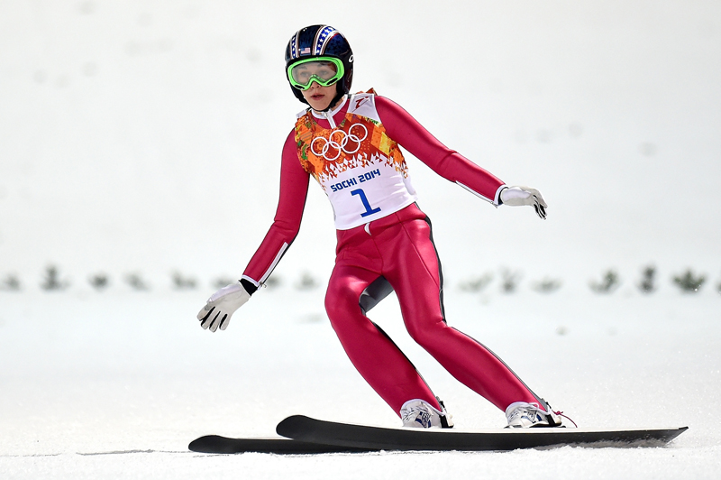 Sarah Hendrickson, seen here competing in the 2014 Sochi Olympics, will be joined by fellow Olympic ski jumper Lindsey Van to headline Olympic Day at the Utah Olympic Park on Saturday. Lars Baron/Getty Images