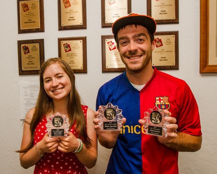 Park Record Sports Editor Adam Spencer and Park City High School Intern Sara Tabin were honored for their work at the Society of Professional Journalists annual banquet on Thursday, June 26. (Christopher Reeves/Park Record)