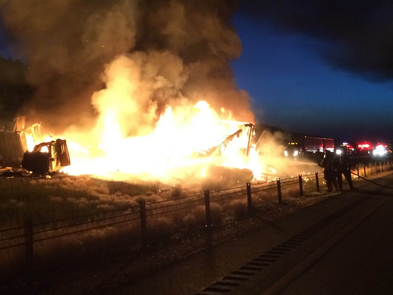 An early-morning collision between two semi-trucks -- one carrying hazardous material -- caused the closure of Interstate 80 Wednesday near the Wyoming border. (Photo courtesy of Tyler Rowser)