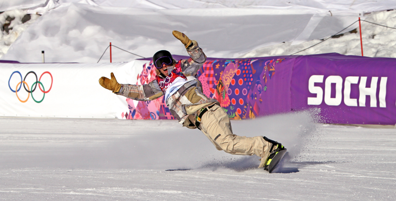 Sage Kotsenburg slides to a stop after his gold medal-winning run at the 2014 Sochi Olympics. (Christophe Pallot/Agence Zoom)