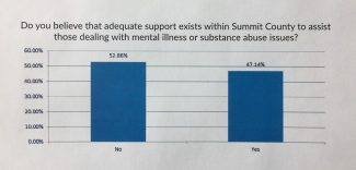The graph shows the results of one of the questions found in the mental health needs assessment survey recently conducted. Officials are sharing the results with the local governments and agencies in the community in the hopes of identifying partnerships and funding sources to create additional services.