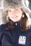 Megan McJames poses for a picture wearing her U.S. Ski Team jacket.