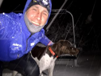 Local runner and President of Park City Running Company Canice Harte poses for a picture as he trains during a snowstorm at night. Harte hopes his recent training will prepare him for the Montane Spine Race, a 268-miler in Britain.