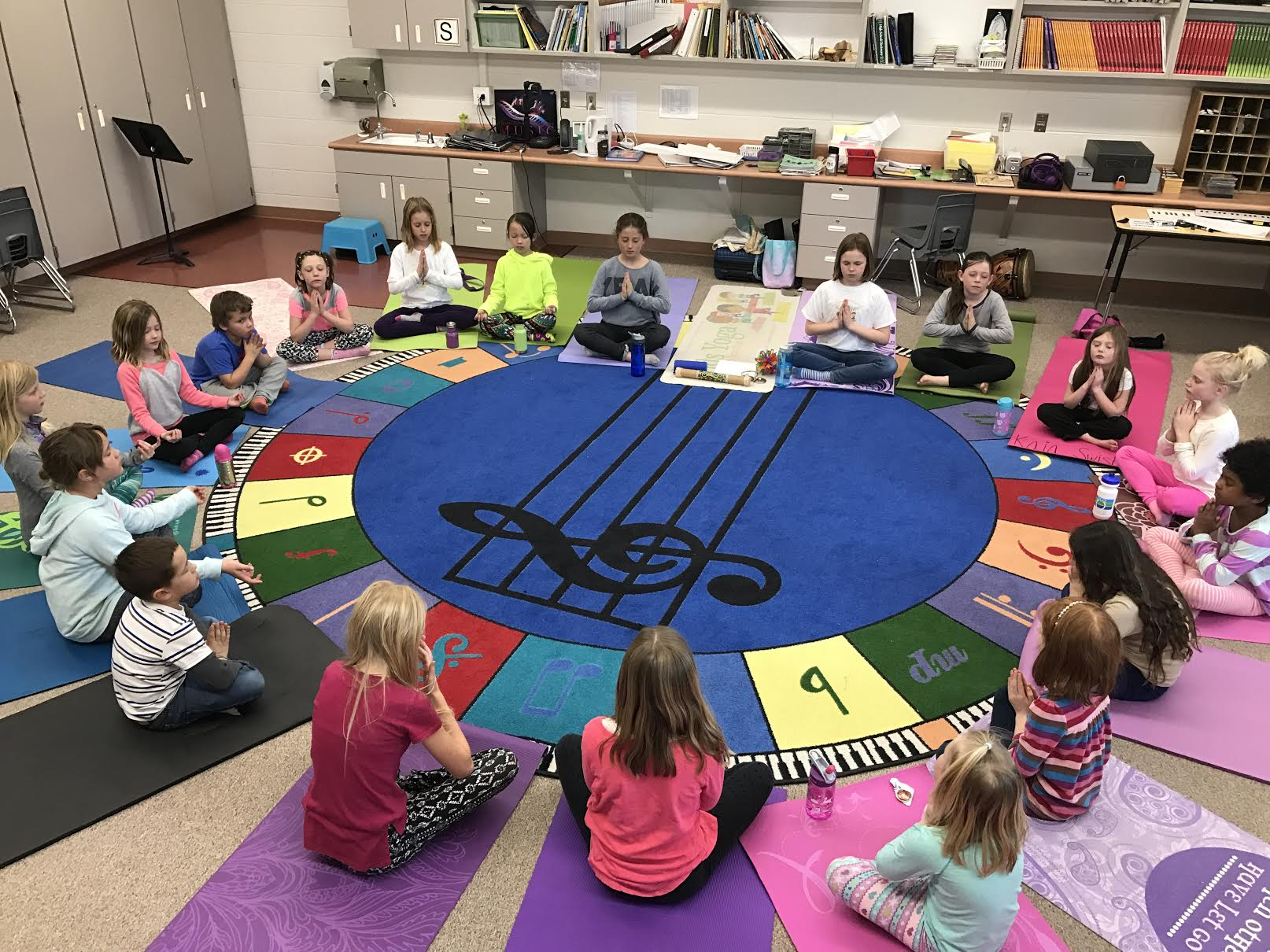Students at Trailside Elementary School participate in a meditation led by Randi Jo Taurel in May. (Photo by Randi Jo Taurel)