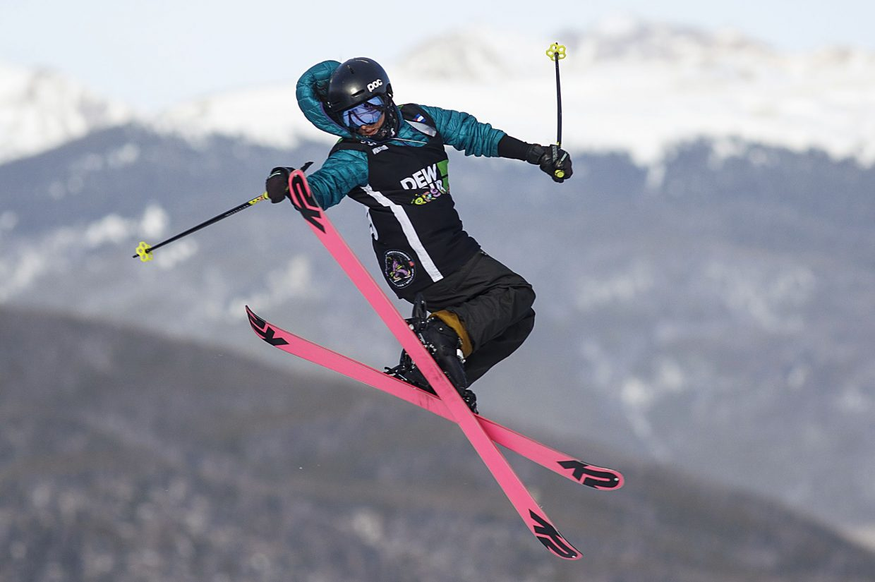 Darian Stevens of United States competes in the slopestyle finals during the Dew Tour event Saturday, Dec. 16, at Breckenridge Ski Resort.
