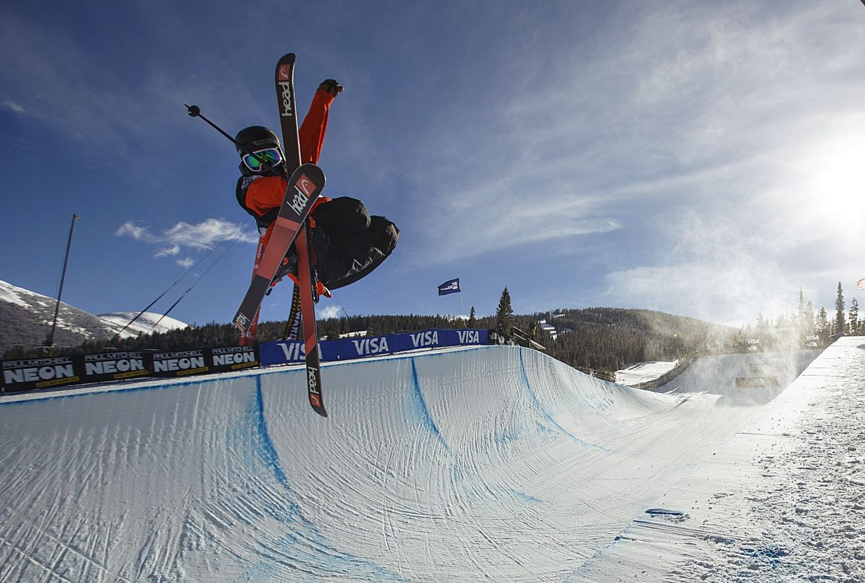 A freeskier competes in the halfpipe finals during the U.S. Grand Prix event Friday, Dec. 8, at Copper Mountain.