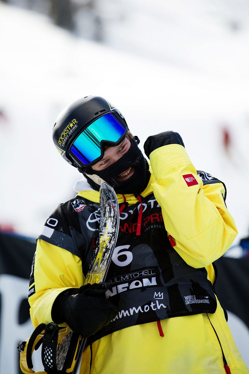 Kyle Mack smiles after his winning run at Saturday's Toyota U.S. Grand Prix at Mammoth Mountain. The performance clinched his spot on the U.S. snowboard slopestyle and big air team for next month's Winter Olympics in Pyeongchang, South Korea.
