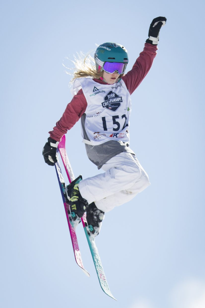 Annika Sundquist competes in the finals round of the Freestyle and Freeskiing Junior National Big Air competition at the Utah Olympic Park Saturday afternoon, March 10, 2018. (Tanzi Propst/Park Record)