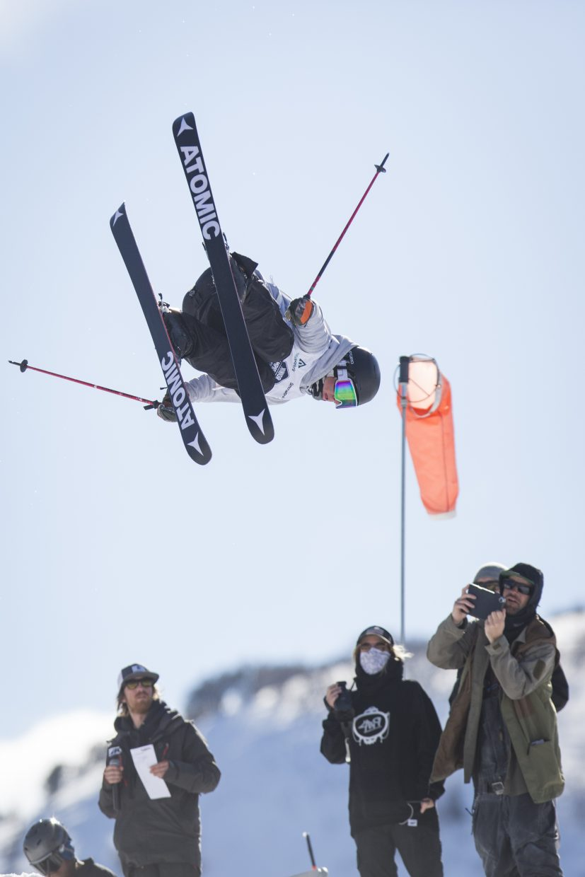 Nolen Johnson competes in the finals round of the Freestyle and Freeskiing Junior National Big Air competition at the Utah Olympic Park Saturday afternoon, March 10, 2018. (Tanzi Propst/Park Record)