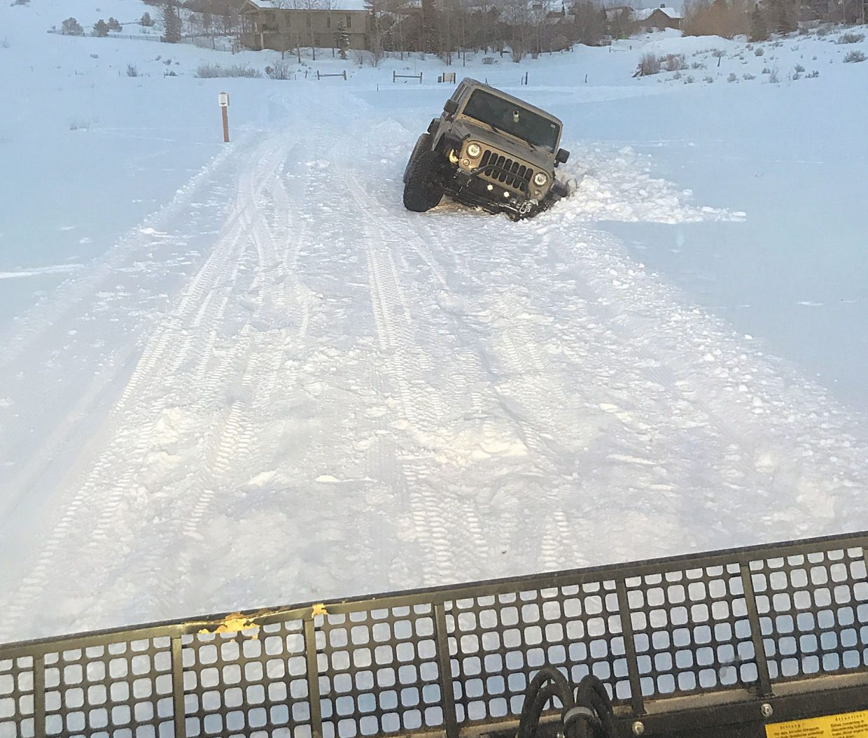A Jeep Became Stuck On The Round Valley Cross Country Skiing Track Friday Evening Is Located Protected Open E Under Ownership Of