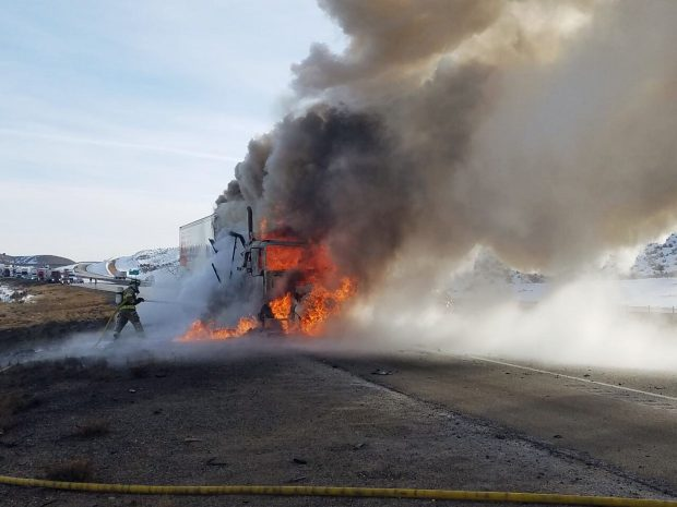 Flames engulf semi-truck on Interstate 80 on Monday