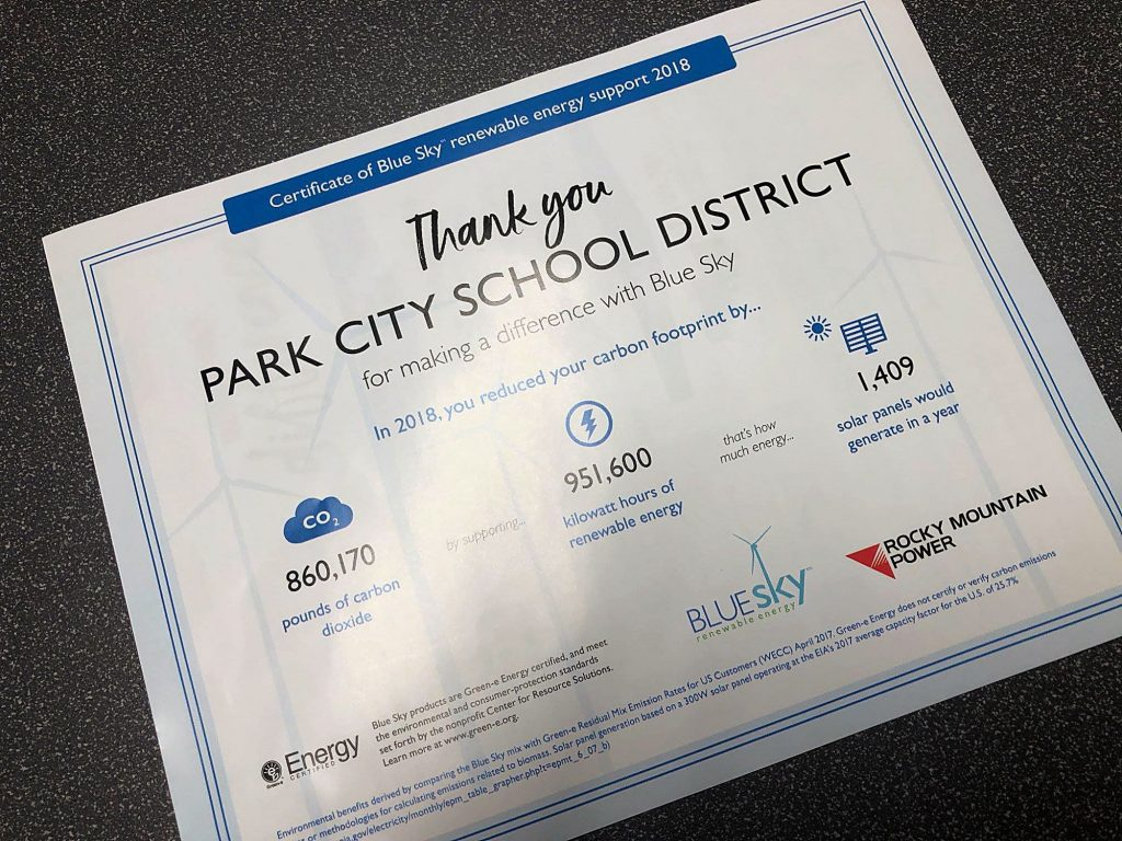 Park City School District recognized for reducing its carbon footprint